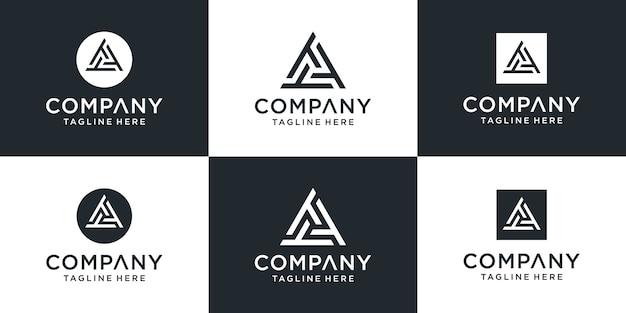 三角形のテンプレートの概念を持つ創造的な抽象的なモノグラム文字tttロゴ