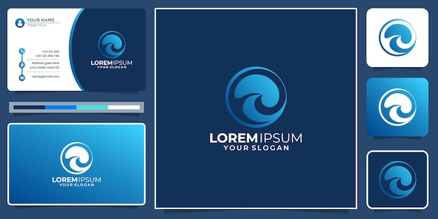 Creative abstract wave circle shape logo with modern gradient color, icon and business card design.
