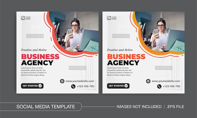Creative and active business agency social media posts design
