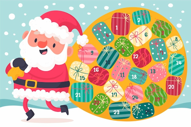 Creative advent calendar with santa claus