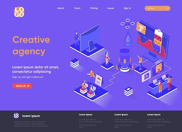 Креативное агентство 3d изометрическая иллюстрация целевой страницы с персонажами людей
