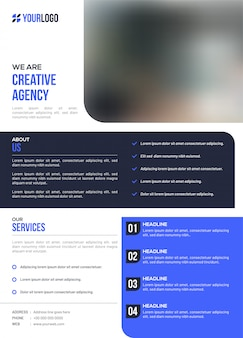 Creative agency business template or flyer layout.