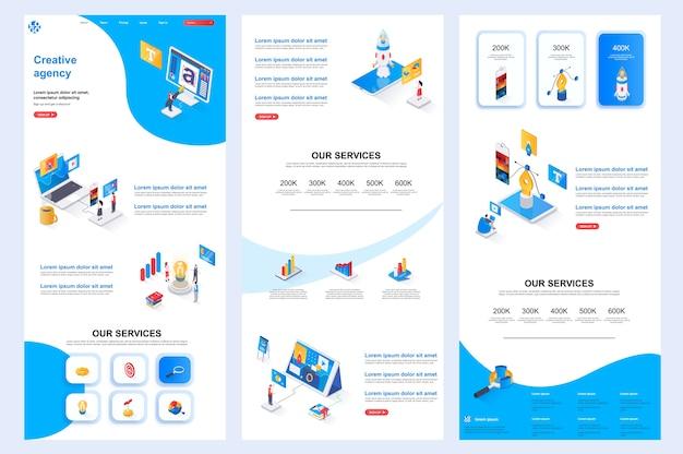 Креативное агентство изометрический шаблон веб-сайта, целевая страница, средний контент и нижний колонтитул
