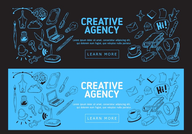 Creative agency office web banner. hand drawn sketchy illustrations of essential related objects of every day working things and tools.