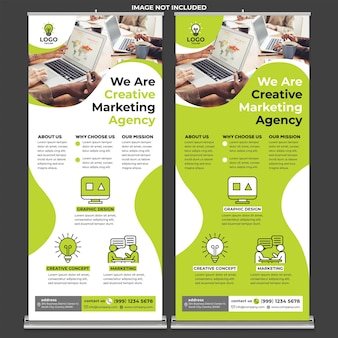 Creative agency roll up banner print template in modern design style