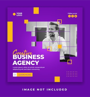 Creative agency social media poster or banner post template
