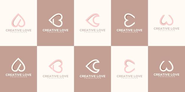 Креативный логотип алфавита с концепцией любви или сердца