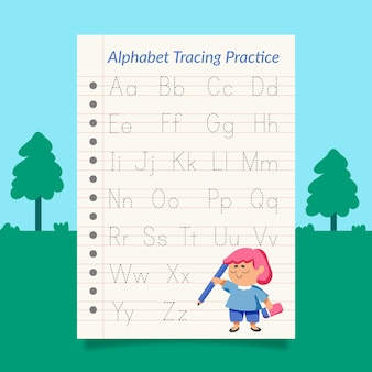 Creative alphabet tracing template with illustrations
