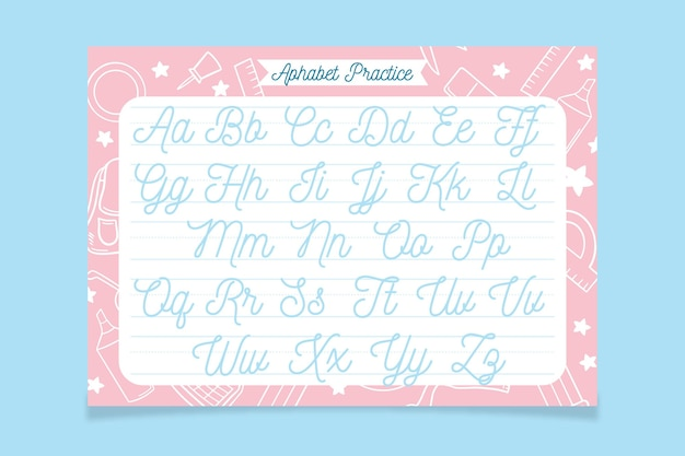 Creative alphabet tracing template with school elements drawn
