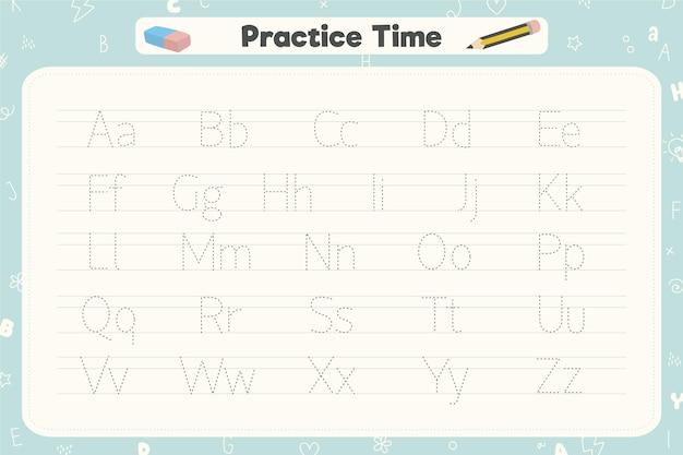 Creative alphabet tracing template