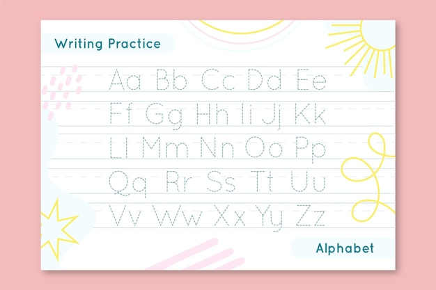 Creative alphabet tracing worksheet