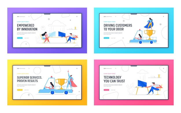 Creative ambitious risky business success concept landing page set