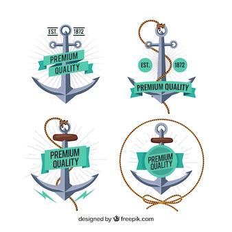 Creative anchor badge collection of four