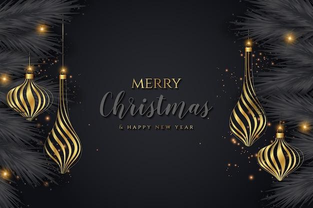 創造的でエレガントなクリスマスの金と黒の背景