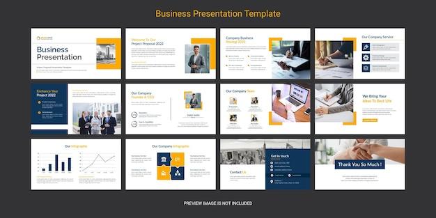 創造的でモダンなビジネスパワーポイントプレゼンテーションスライドテンプレートデザインセット