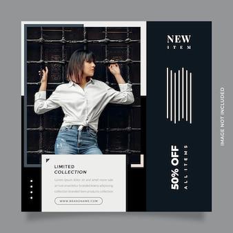 クリエイティブでモダンなコンセプトのファッションセールデザインソーシャルメディアポストプロモーションとバナーテンプレート