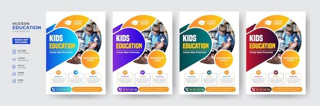 Шаблон флаера для поступления в креативное и современное образование для детей