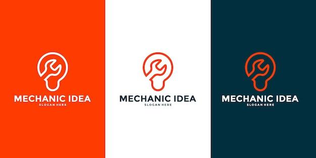 あなたのビジネスワークショップなどのための創造的でスマートなメカニックロゴデザインベクトル