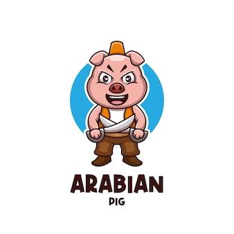 Creative arabian pig cartoon character mascot logo design
