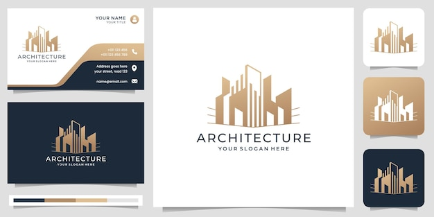 Creative architecture logo template with business card design. premium vector