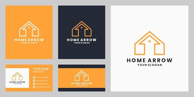 명함 서식 파일이 있는 크리에이 티브 화살표 조합 홈 로고 디자인