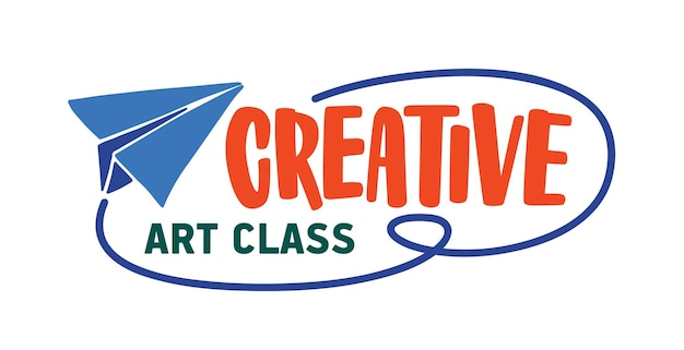Креативный арт-класс плоский векторный логотип. логотип студии талантливых детей, изолированные на белом фоне. бумажный самолетик с надписью. уроки рисования, дизайн эмблемы центра раннего развития.