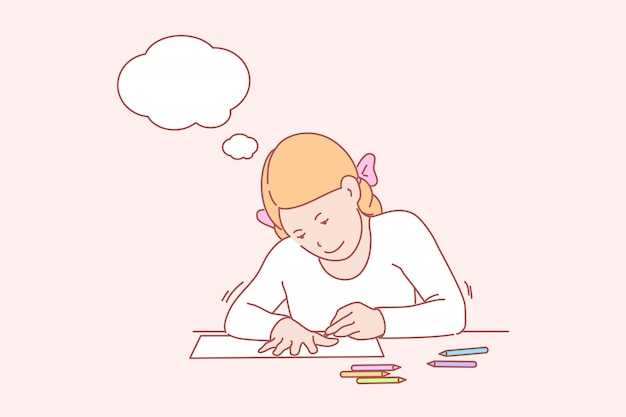 Creative, art, learning, hands, childhood, thought bubble illustration