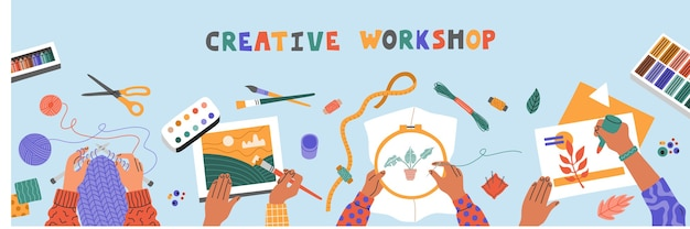 Creative art workshop for kids, drawing, embroider