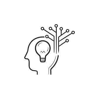 크리에이 티브 인공 지능 손으로 그린 개요 낙서 아이콘. 딥 러닝, 인텔리전스 관리 개념입니다. 인쇄, 웹, 모바일 및 흰색 배경에 인포 그래픽에 대한 벡터 스케치 그림.