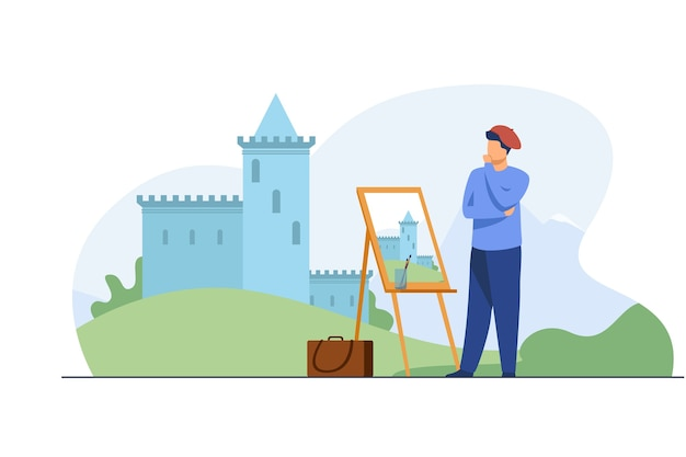 Creative artist painting castle. brush, scenery, landscape flat vector illustration. art and creation concept