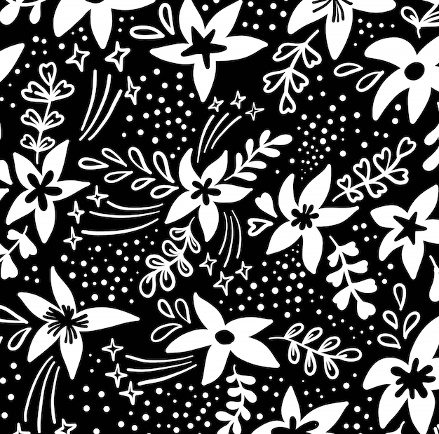 Creative artistic floral background. hand drawn flowers.