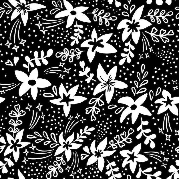 Creative artistic floral seamless pattern