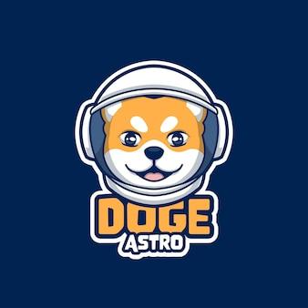 クリエイティブアストロドージかわいい漫画のロゴ柴犬
