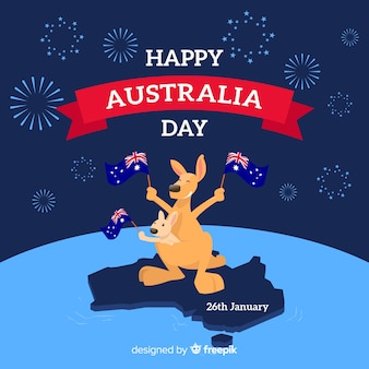 Творческий австралийский день фон с кенгуру