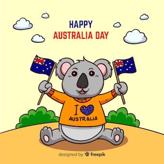 コアラとオーストラリアの創造的な日の背景