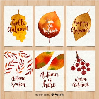 Creative autumn card collection in watercolor style