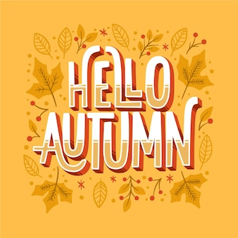 Creative autumnal lettering with leaves
