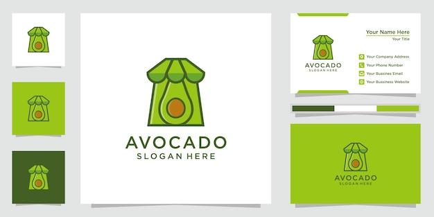 クリエイティブなアボカドのロゴのインスピレーション。アボカドショップのロゴ、アイコン、名刺。プレミアムベクトル。