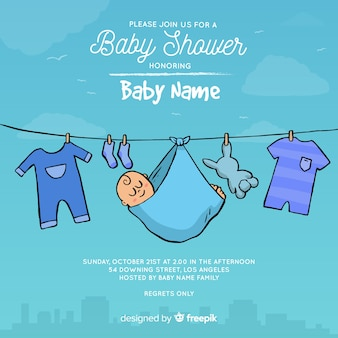 Creative baby shower template for boy