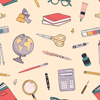 Creative back to school seamless pattern with education supplies scattered on light background.