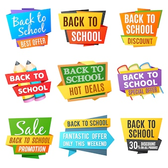Creative back to school vector advertising banners. school colored banner, special offer back to school illustration