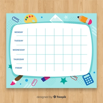 Creative back to school timetable template