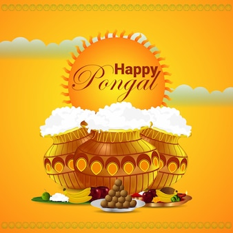 Творческий фон для счастливого фестиваля понгал в тамил наду, южная индия