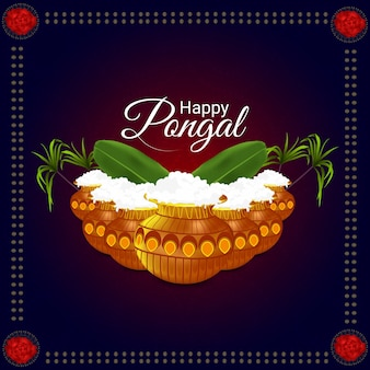 Creative background for happy pongal festival of tamil nadu south indian