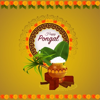Creative background for happy pongal with creative mud pot and sugarcane