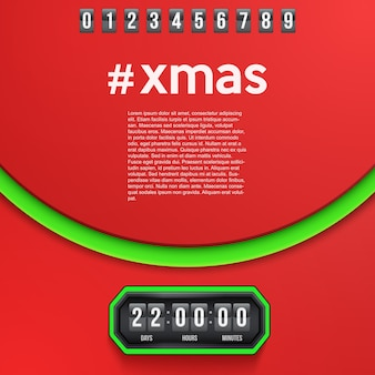 Creative background merry christmas coming soon and countdown timer with digit samples.