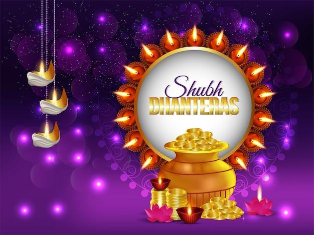 Творческий фон дхантерас, фестиваль индии, с блестящими монетами и горшком