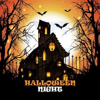 Творческий фон хэллоуина с тыквой ужаса и летучей мышью и иллюстрацией дома ужасов.
