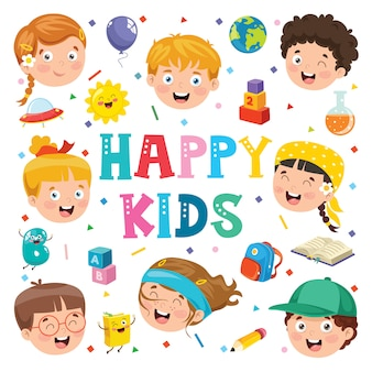 Creative background with funny children