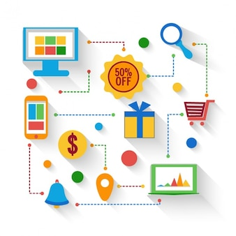 Creative background with the online shopping process